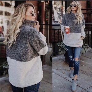Cozy! Two tone fuzzy pullover